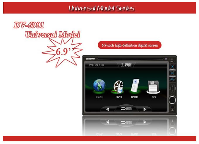 6.9 double din dvd player